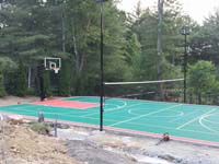 Backyard basketball court plus tennis and volleyball in Pembroke, MA. We could install backyard basketball for you in Sagamore, Avon, Abington, Whitman, Cambridge or Norwood.
