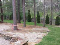 Ordinary backyard waiting for court construction in Pembroke, MA. We could build backyard basketball for you, too, in Santuit, Wianno, West Barnstable, West Hyannis Port, Cataumet or Monument Beach.
