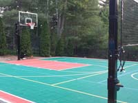 Backyard basketball court in Pembroke, MA. Whatever your sport, you could have a court surface and accessories of your own in Somerville, Medford, Everett, Malden or Revere.