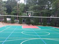 Backyard basketball court in Pembroke, MA. Whatever your sport, you could have a court surface and accessories of your own in Winthrop, Nahant, Melrose, Chelsea or Dorchester.