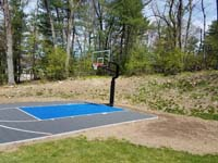 Backyard basketball court in Burlington, MA.