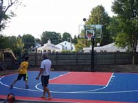 Backyard basketball court in Canton, MA. Whether you are on Cape Cod or in nearby Rhode Island, you could sport a great backyard court, from Provincetown to Providence.