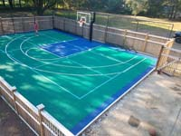 Backyard basketball court is the sort of thing you might find in Carlisle, MA or a yard like yours.
