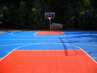 Backyard basketball court in Bellingham, MA