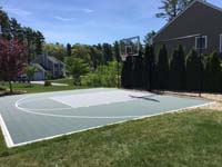 Backyard basketball court in Duxbury, MA.