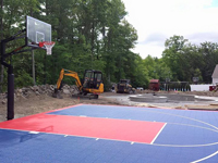 Backyard basketball court construction in North Attleboro, MA. Backyard basketball courts are in your reach in Fall River, New Bedford, Acushnet, Freetown and Plainville.