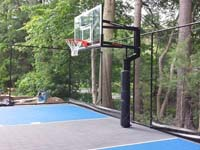 Backyard basketball court in West Bridgewater, MA.
