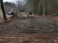 Backyard basketball court as part of a larger project including stump removal, landscaping, firepit and a putting green in Hanover, MA.