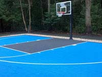 Backyard basketball court with pool deck and landscaping in Kingston, MA