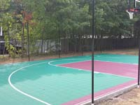 Backyard basketball construction in Natick, MA.