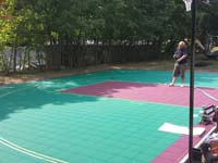 Backyard basketball court in Natick, MA.