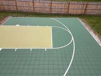 Backyard basketball court in Needham, MA.