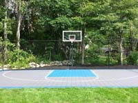 Backyard basketball court with lights for night play in Massachusetts. This could be in Winchester, Lexington, Newton, Needham, Westwood, or a happy backyard in your neighborhood.