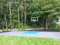 Backyard basketball court with lights for night play in Massachusetts. This could be in Concord, Medfield, Lincoln, Hyannis, Rehoboth, or a happy backyard in your neighborhood.