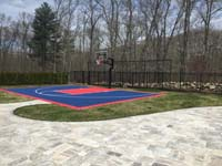 Backyard basketball court in North Attleboro, MA. We could install backyard basketball for you, too, in nearby Rhode Island, like Cumberland, Lincoln, Pawtucket, East Providence, and Warren.