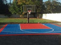 Simple game courts can be laid out on existing driveway like this small basketball court in Plympton, MA. Court can be parked on or driven over.