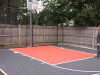 Backyard basketball court construction Reading, MA.