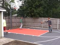 Backyard basketball in Reading, MA.