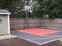 Backyard basketball court in Reading, MA.
