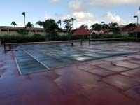 Run down Caribbean tennis court before restoration at Sandals Grande Antigua Resort and Spa in St. Johns, Antigua.