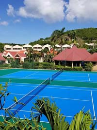 Resurfaced Caribbean resort tennis court in Antigua.
