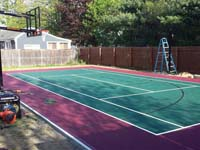 Backyard basketball court construction in Sudbury, MA.