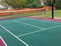 Backyard basketball court in Sudbury, MA.