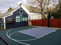 Backyard basketball court is the sort of thing you might find in Wakefield, MA or a yard like yours. Includes customer embellishments to their court area, with basketball rack, Celtics banners, and Larry Bird shirt.