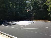 Black and grey home basketball court in Wellesley, MA.