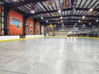 We traveled to Kapolei, Hawaii and inside to resurface two inline skate hockey rinks with Versacourt Speed Indoor tile. This is a look at most of the rink floor before resurfacing began.