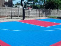 Home basketball court in Halifax, MA, part of cranberry country.