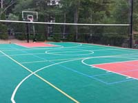 Home basketball court with tennis and volleyball in Pembroke, MA.