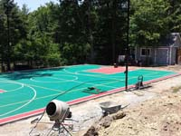 Backyard basketball courts like this multicourt in Pembroke, MA can be yours in New England or, in commercial sizes only, the Caribbean.