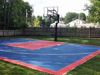 Residential blue and red basketball court in Canton, MA.