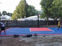 Partially completed personal basketball court in Canton, MA.