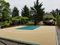 Off-white/tan and green home basketball court in Easton, MA. Dr. Seuss and basketball share Springfield, MA in common.