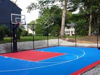 Another light blue and red basketball court, this time at a home in Hopedale, MA.