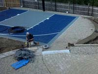 Working closely with landscape construction integrated with a new blue court in Kingston, MA.