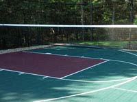 Optional tennis or volleyball net shown on multicourt basketball court in Kingston, MA.