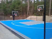 Backyard basketball court in Lakeville, MA.