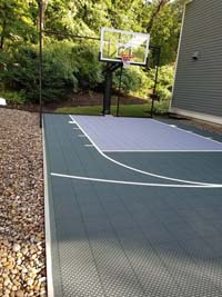 Small side yard basketball court in Needham, MA.