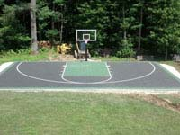 Apparently our only surviving finsihed picture of a basketball court surface in graphite and olive green shades in Raynham, MA.