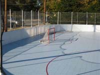 Sample picture of backyard roller hockey court suggestive of what BCM could install.