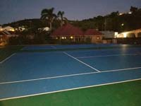 Caribbean tennis court restoration at Sandals Grande Antigua Resort and Spa in St. Johns, Antigua.