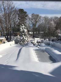 View of entire backyard during the winter befor construction of royal blue and yellow basketball court and accessories in Stoneham, MA. Court will be at very back, where fir tree and small shed can be seen.