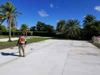 Combination court for pickleball, shuffleboard and some basketball installed on Jumby Bay Island (Long Island) in Antigua. This shows the concrete base prepared ahead of court installation.
