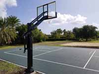 Combination court for pickleball, shuffleboard and some basketball installed on Jumby Bay Island (Long Island) in Antigua. Portable pickleball net coming soon.