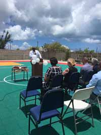 Replacement tennis and basketball courts in Codrington, Barbuda, courtesy of Australia, the Red Cross, and community effort, part of the ongoing recovery from hurricane Irma.