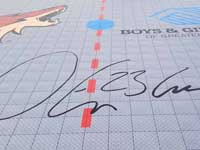 Signature of Coyotes team captain Oliver Ekman-Larsson, sponsor of inline hockey rink for Boys & Girls Clubs in Scottsdale, AZ..