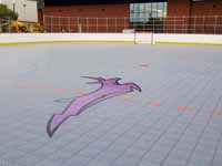 View of freshly built and surfaced outdoor rink for inline hockey, with antelope logo in foreground, at Grand Canyon University in Phoenix, AZ.